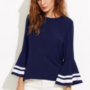 Tops - Navy Striped bell sleeve blouse